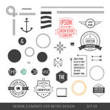Hipster style infographics elements set for retro design. With r. Ibbons, labels, rays, numbers, arrows, borders, diamonds and anchors. Vector illustration Stock Photo