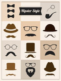 Hipster style mustache hat sunglasses vector set Stock Photo
