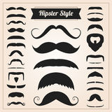 Hipster style mustache vector set Royalty Free Stock Photos