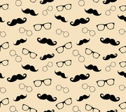 Hipster style pattern, glasses and mustaches. vect. Or illustration background Stock Photos