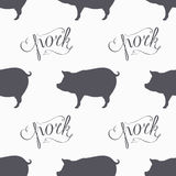 Hipster style pig seamless pattern. Pork meat hand lettering Stock Image