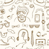 Hipster style seamless pattern Sketches Stock Photography