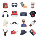 Hipster style set icons in cartoon style. Big collection of hipster style vector symbol stock illustration Stock Photo