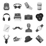 Hipster style set icons in monochrome style. Big collection of hipster style vector symbol stock illustration Royalty Free Stock Image