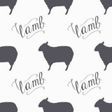 Hipster style sheep seamless pattern. Lamb meat hand lettering Royalty Free Stock Photography