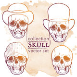 Hipster style skull set on grunge BG. Hipster style human skull set. Hand drawn sketch on a watercolor spot. Vintage design set. Halloween concept art. EPS10 stock photography