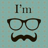 Hipster Style Vector background. Illustration with Hipster Elements (glasses and mustache). Vintage Retro Stock Image