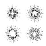 Hipster style vintage star burst with ray Stock Images