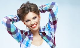 Young woman with beautiful smile. Isolated portrait. Royalty Free Stock Photos