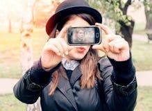 Hipster stylish woman selfi Stock Image