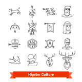 Hipster subculture. Thin line art icons set. Male, female avatars, artistic tattoo, design elements, company logotypes. Linear style symbols isolated on white Stock Photo
