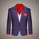 Hipster suit of mens clothing. With an elegant tailored blue jacket with a pattern  white waistcoat and red shirt with a matching red floral buttonhole on a Stock Images