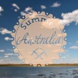 Hipster summer australia. Retro vintage hipster landscape logo on a foto stock images