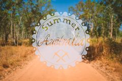 Hipster summer australia. Retro vintage hipster landscape logo on a foto royalty free stock image