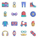 Hipster symbols icons set, cartoon style Royalty Free Stock Photography