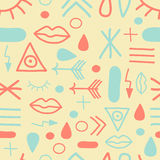 Hipster symbols in mint and coral Royalty Free Stock Images