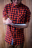 Hipster taking notes on notebooks Royalty Free Stock Photo