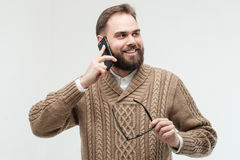 Hipster talking on a phone Royalty Free Stock Image