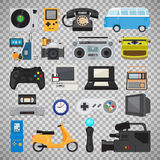 Hipster tech gadget icons. Hipster tech gadgets. 90s gadget icons like old joystick and console, gamepad and video tape isolated on transparent background Vector Illustration