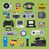 Hipster tech gadget icons. Hipster tech gadgets. 90s gadget icons like old joystick and console, gamepad and video tape. Vector illustration Vector Illustration
