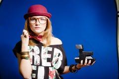 Hipster teenager girl making selfies Stock Photos