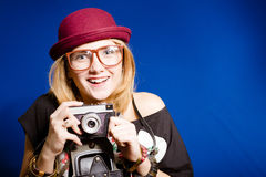 Hipster teenager girl with photo camera Stock Photography