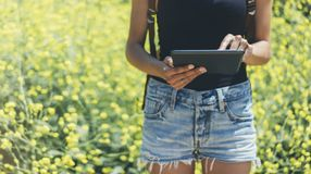 Hipster texting message on tablet or technology, mock up of blank screen. Girl using computer on yellow flowers background close. Female hands holding gadget stock photos