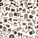 Hipster theme and culture set of vector icons in seamless brown pattern eps10 Royalty Free Stock Photography