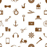 Hipster theme and culture set of vector icons in seamless pattern eps10 Stock Image