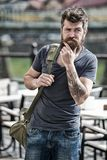 Hipster thoughtful traveler carry travel bag. Business trip. Man bearded traveler hipster travel with luggage bag. Let. Travel begin. Traveler with bag arrive royalty free stock photo