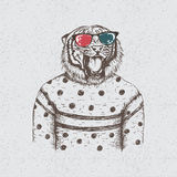 Hipster tiger dressed in the blouse. Hipster dtiger dressed in the blouse.Handmade work.Typography design for t-shirts Royalty Free Stock Photo
