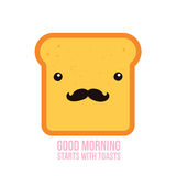 Hipster toast bread Funny Cartoon character with mustache Stock Photography