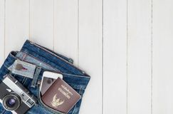 Hipster travel fashion and objects on white wooden copy space Royalty Free Stock Photography