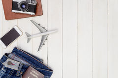 Hipster travel objects on white wooden Royalty Free Stock Images