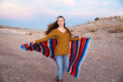 Hipster Traveler in desert, USA Stock Photos