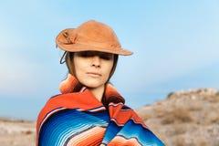Hipster Traveler in desert, USA Stock Photography