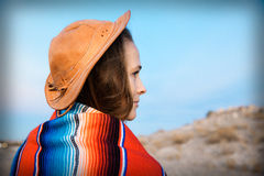 Hipster Traveler in desert, USA Stock Photo