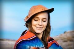 Hipster Traveler in desert, USA Stock Image