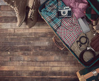 Hipster traveler's suitcase Stock Photo