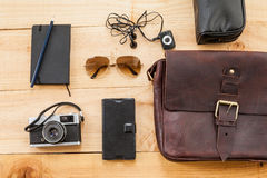 Hipster traveler stuff bag Stock Images