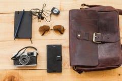 Hipster traveler stuff bag Royalty Free Stock Image