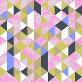 Hipster trendy seamless pattern with triangle and leaves vector illustration