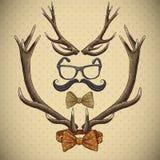 Hipster uitstekende achtergrond met hertengeweitakken Stock Fotografie