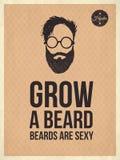 Hipster uitstekende kijkt in citaten, kweekt een baard Royalty-vrije Stock Foto's