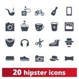 Hipster, ungdommode och livsstilsymbolsuppsättning royaltyfri illustrationer