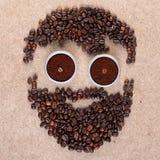 Hipster van koffiebonen op triplex schoot dicht omhoog royalty-vrije stock afbeeldingen
