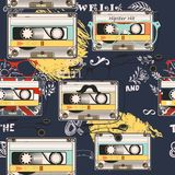 Hipster vector background with old cassette headphones Stock Photos