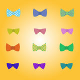 Hipster vector bow-tie. In different colours and prints stock illustration