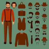 hipster vector character, vector illustration
