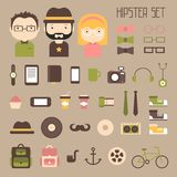 Hipster vector colorful style elements and Stock Photo